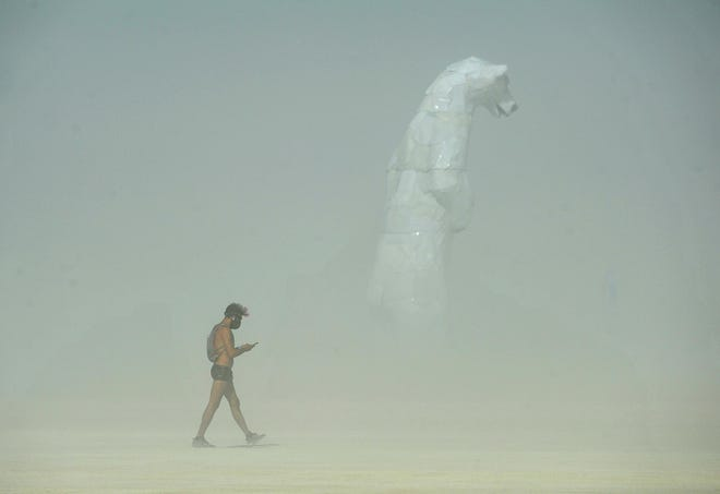 Artists and Burners set up for a week on the playa on Saturday, Aug. 25 at Burning Man in the Nevada desert.