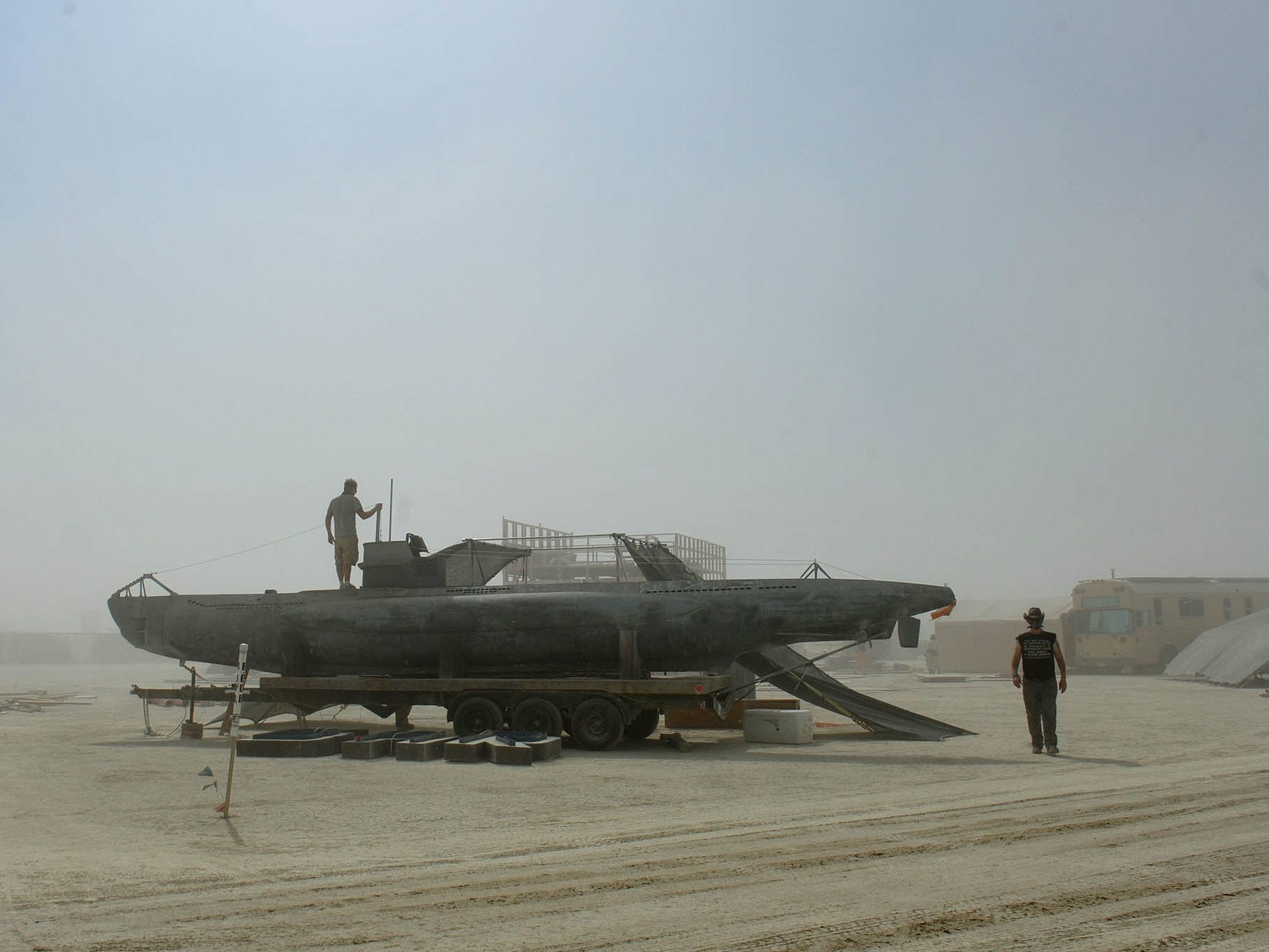 On Saturday artist and burners set up for a week on the playa.