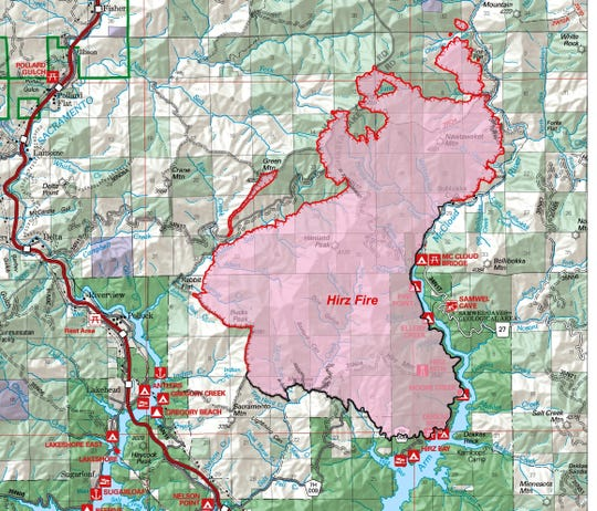 Map of the Carr Fire as of Saturday morning, Aug. 25.