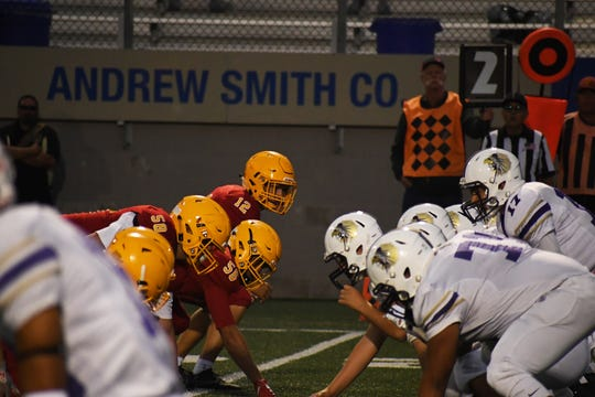 Palma linebacker Sam Lathos (12) had a pick-six last Friday for a Palma defense that's continued to match the Chieftains' torrid offense.