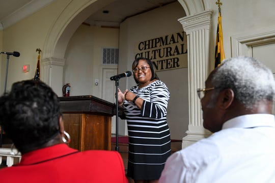 Delegate Sheree Sample-Hughes speaks at the Chipman Cultural Center's 180th anniversary celebration on Saturday, August 25.