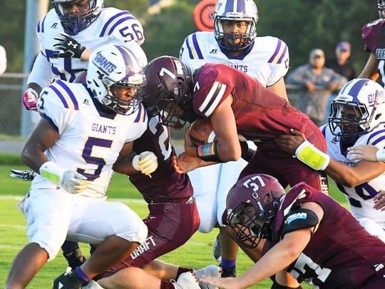 Stuarts Draft's Freddie Watkins runs the ball into the end zone for a touchdown during a football game played in Stuarts Draft on Friday, August 24, 2018.