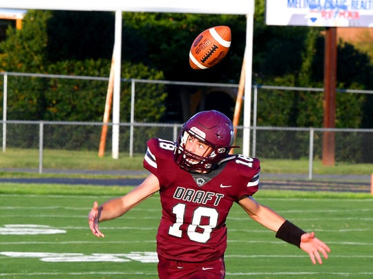 Stuarts Draft's Blake Roach reacts as the ball comes loose during a football game played in Stuarts Draft on Friday, August 24, 2018.