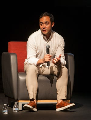 """Producer Nicholas Ma discusses """"Won't You Be My Neighbor?"""" after a screening at Dixie State University in St. George on Aug. 24, 2018."""