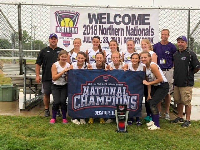 Point Fastpitch 14U team members Lauryn Broecker, Olivia Allen, Emma Kawleski, Brayley Lake, C.J. Kaminski, Ella Schroeder, Molly Kable, Emma Raikowski, Brooke Swiecki, Zoe Fink, Paeton Kringel and Jayden Hytry brought home the 2018 Northern National Championship last month.