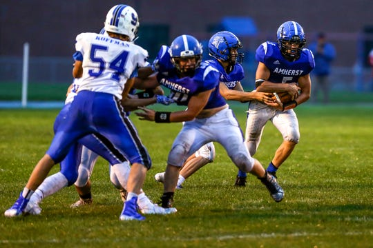 Amherst running back Josh Rieck finished with 72 yards on 17 carries in a 34-0 loss to Saint Mary's Springs on Friday night. The Falcons were held to 109 yards of total offense to drop to 1-1 on the season.