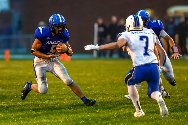 Senior halfback  Josh Rieck paces the Amherst rushing attack with 696 yards and six touchdowns as the Falcons prepare to take on Manawa on Friday night in Central Wisconsin Conference-Large action.