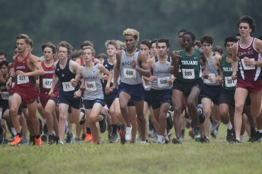 Maclay's Jay Brown starts during the 2018 Cougar XC Invitational at Elinor Klapp-Phipps Park.