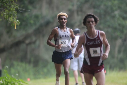 Maclay's Jay Brown runs at the 2018 Cougar XC Invitational at Elinor Klapp-Phipps Park.
