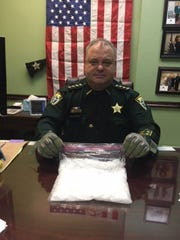 Taylor County Sheriff Wayne Padgett with the methamphetamine seized from a home.