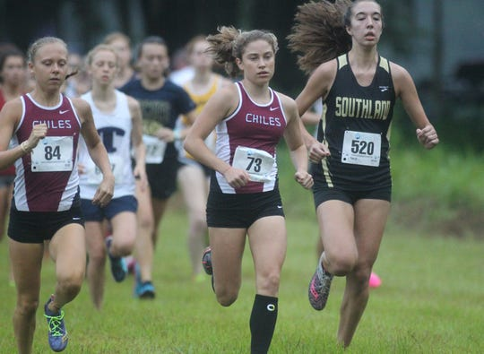 Chiles junior Alyson Churchill gets off to a fast start at the 2018 Cougar XC Invitational at Elinor Klapp-Phipps Park.