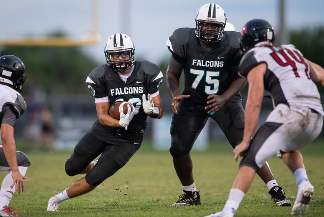 Jensen Beach lineman Manny Rogers (75) blocks in the season opener against South Fork on Aug. 24, 2018 at Jensen Beach High School.