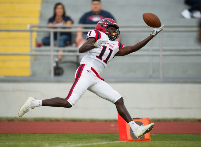 St. Lucie West Centennial's Dwight Toombs II, shown here catching a touchdown against Fort Pierce Westwood on Aug. 24, 2018, is rated No. 4 on the TCPalm Super 11. He is the top-rated player on the list who has not yet made his college decision.