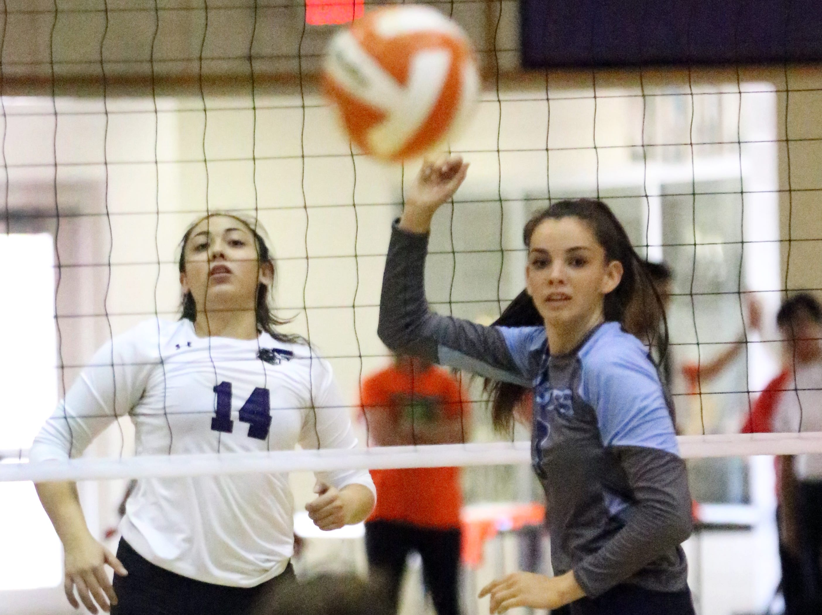 Jazmine Coronado, 14, of Franklin watches her shot with Chapin Amber Soto Saturday.