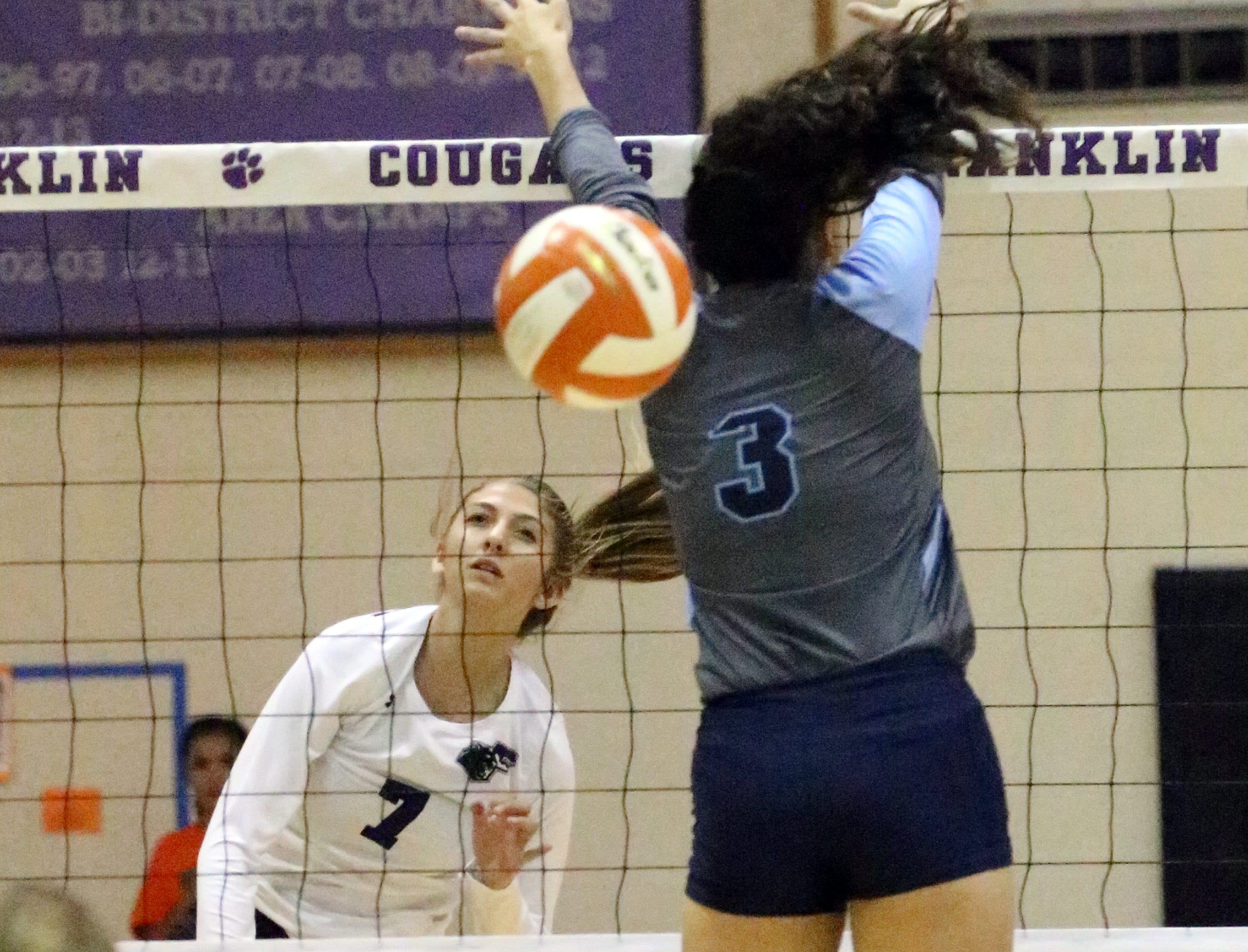 Caroline Carroll of Franklin fires past Jessica Landeros of Chapin Saturday.