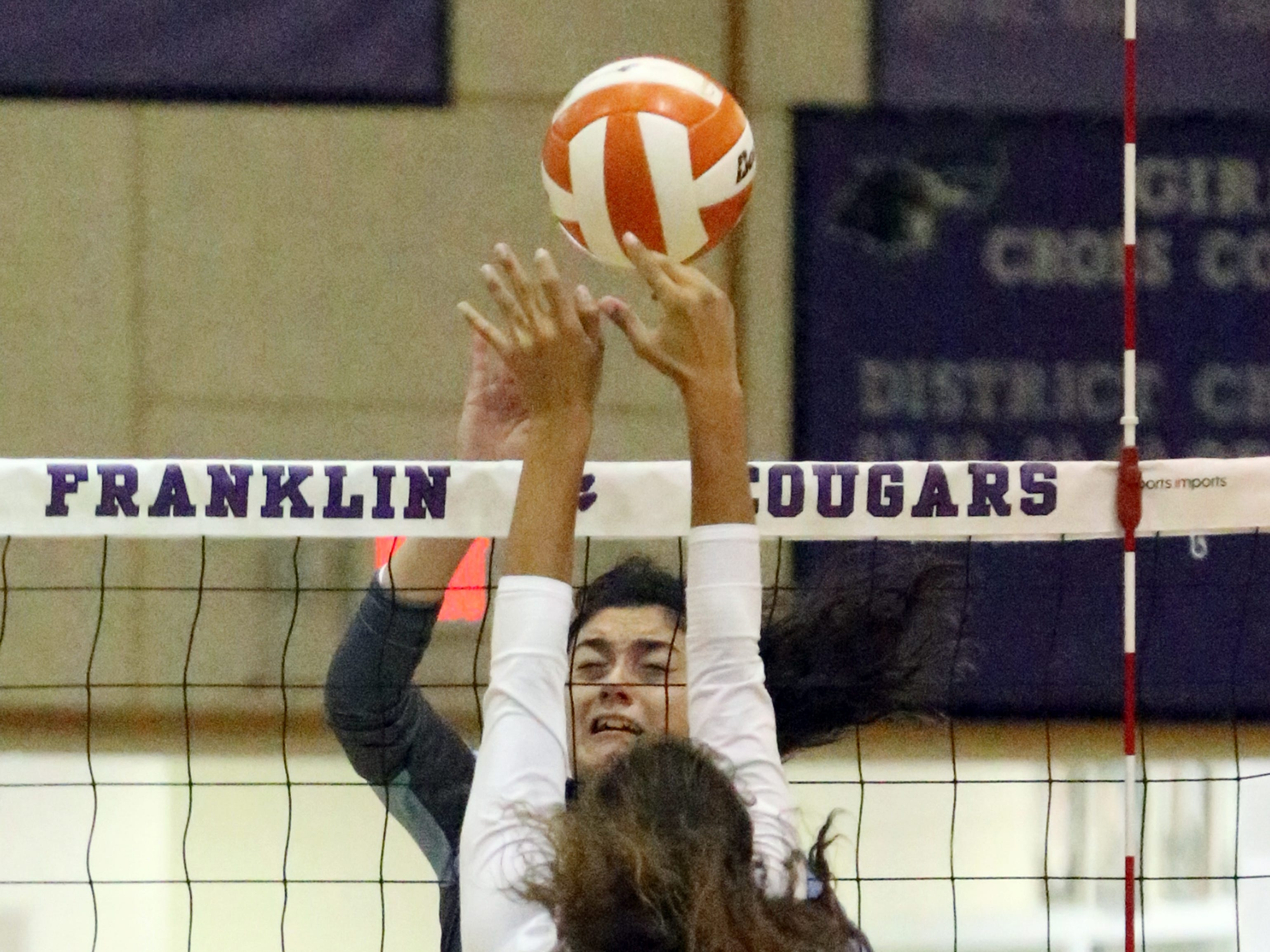Jessica Landeros of Chapin tries to get the ball past Sophie Chacon 5, of Franklin Saturday.