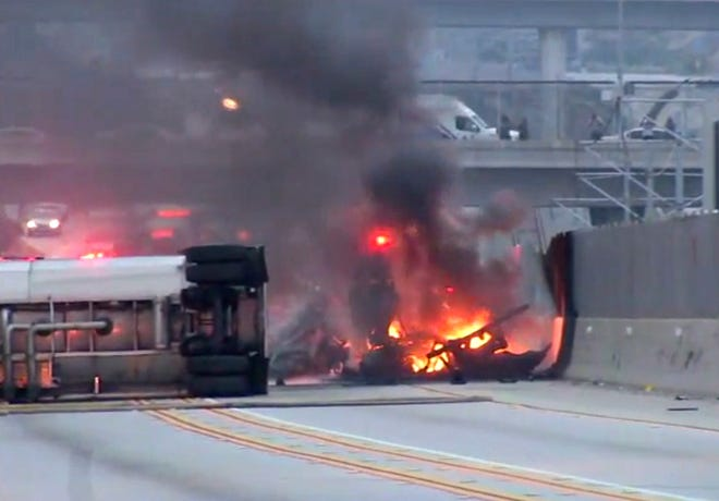 This still image taken from video provided by KABC-TV shows a fuel tanker that crashed and burned early Friday on Interstate 105 near Los Angeles International Airport, causing a massive traffic jam.