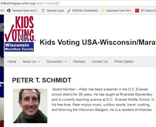 "A screen shot of the Kids Voting Marathon County website shows Peter Schmidt as a board member. The organization said it is suspending him ""until further notice"" after he was accused of sexually assaulting a child."