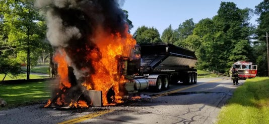 Truck fire on Harris Road, Bedford