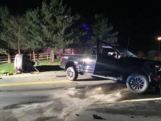 A truck and car hit head-on on Salem Church Road, near Bear, on Saturday, Aug. 18, 2018.