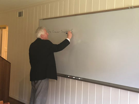 Lifelong Learning Center Coordinator Dave Hartman is seen at the center on Hampstead in the larger classroom.