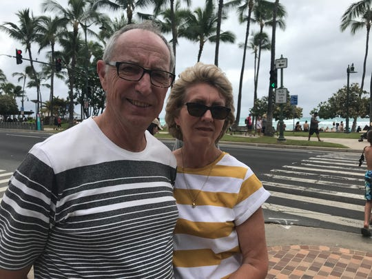Bruce and Raewyn Webber of Auckland, New Zealand. The couple were vacationing in Hawaii when Hurricane Lane began to bear down on the islands. But having tent camped through cyclones in New Zealand, the storm held no fears for them.