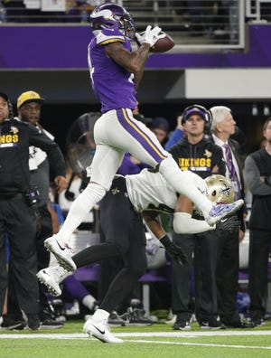 """Saints S Marcus Williams whiffs on a tackle attempt against Vikings WR Stefon Diggs that led to the """"Minnesota Miracle."""""""