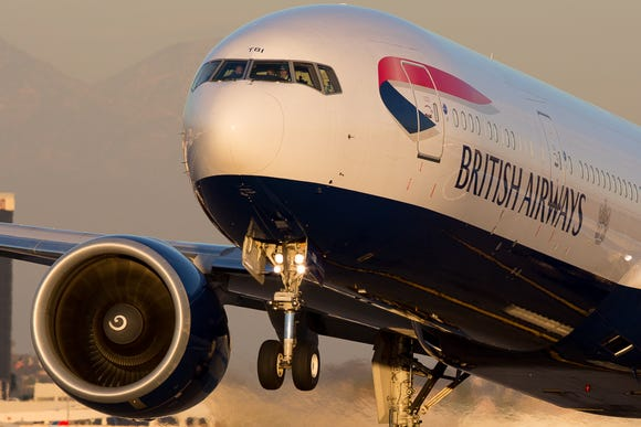 A British Airways Boeing 777 takes off from Los Angeles International Airport for London in November 2015.