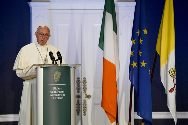 Pope Francis delivers a speech in the Dublin Castle during his visit to Ireland, in Dublin, Ireland, on August 25, 2018.