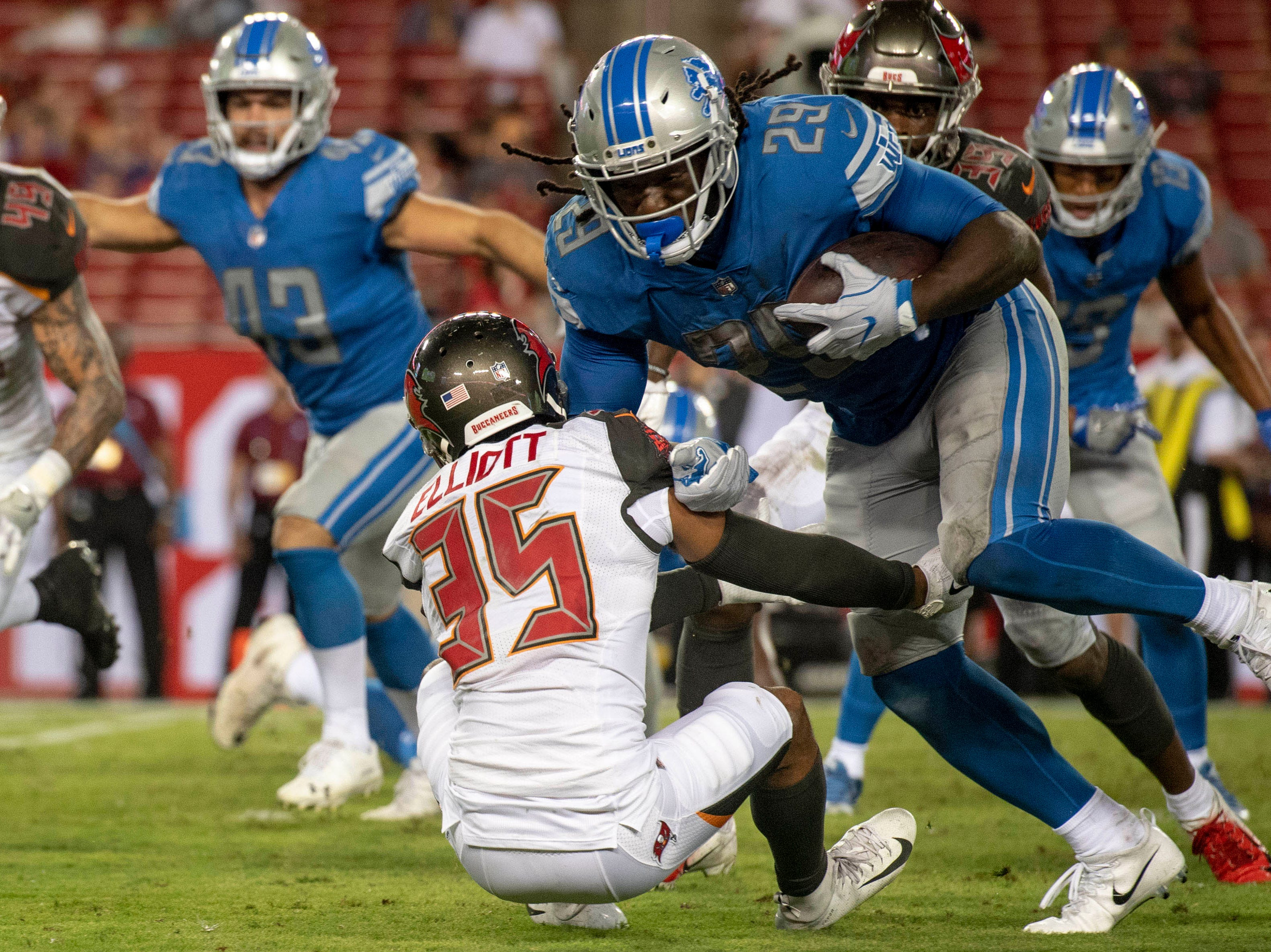 Detroit Lions running back Theo Riddick (25) runs overTampa Bay Buccaneers corner back Javien Elliott (35) during the second half at Raymond James Stadium.