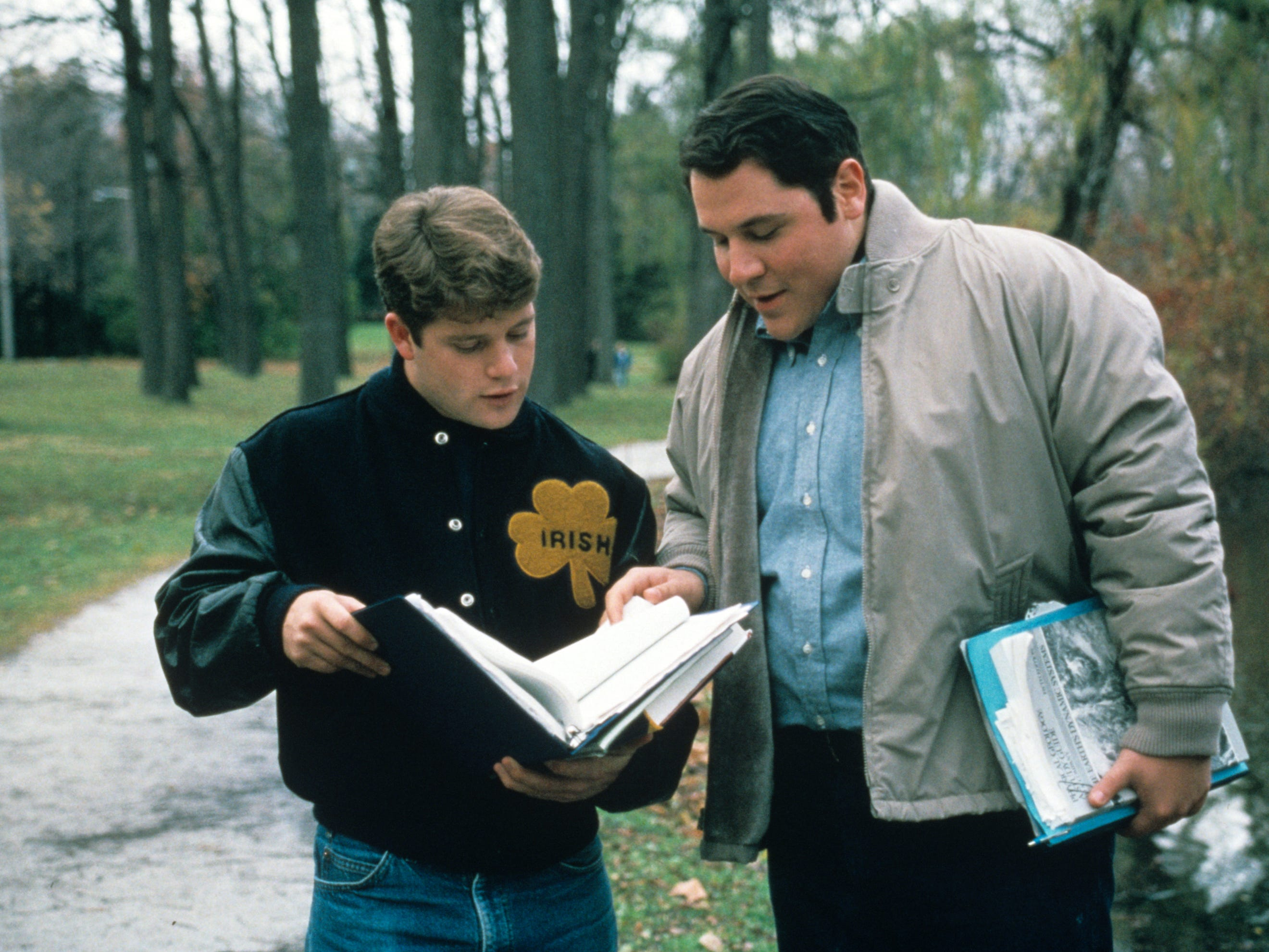 "Rudy Ruettiger (Sean Astin) and his tutor D-Bob (Jon Favreau) go over school work in ""Rudy."" Favreau's ""Swingers"" co-star Vince Vaughn also appeared in ""Rudy."""