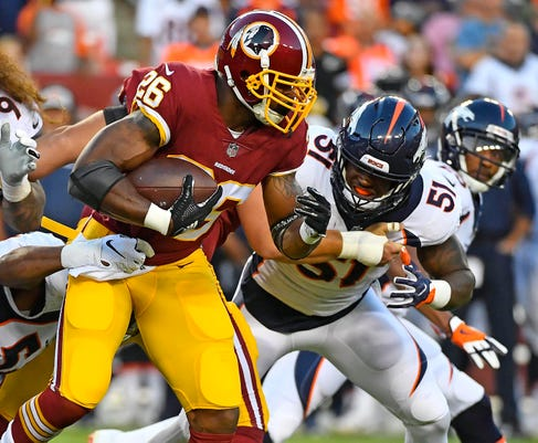 7b24a2484 Nfl Denver Broncos At Washington Redskins. Washington Redskins running back  Adrian Peterson (26) ...