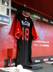 The Arizona Diamondbacks honored Sen. John McCain before Sunday's game.