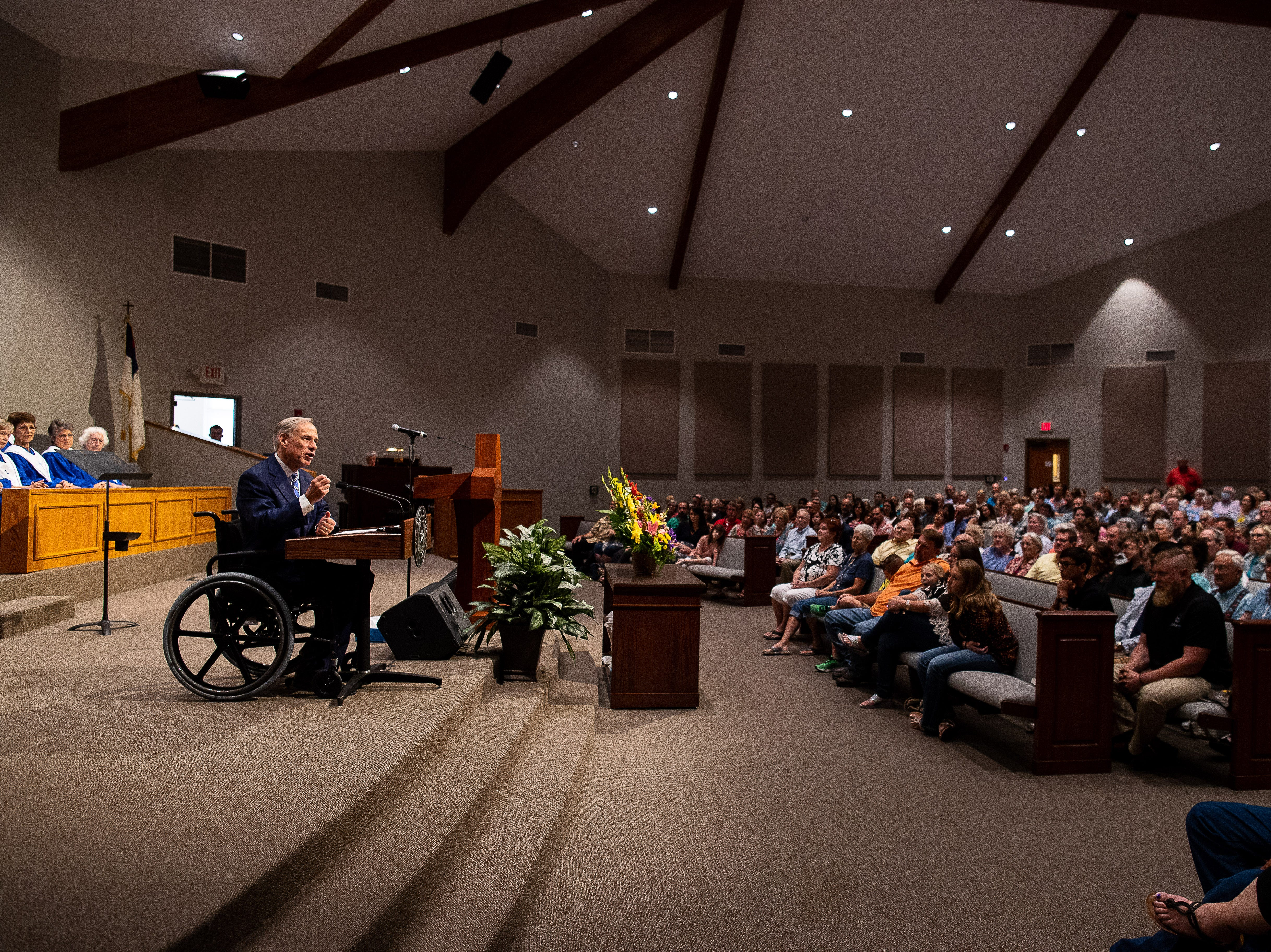 Governor Greg Abbott speaks at the First Baptist Church of Rockport during a Hurricane Harvey anniversary service on Sunday, Aug. 26, 2018.