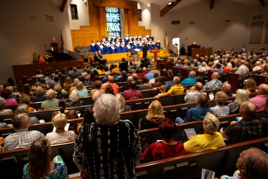 First Baptist Church of Rockport hosts  a Hurricane Harvey anniversary service attended by Gov. Greg Abbott on Sunday, Aug. 26, 2018.