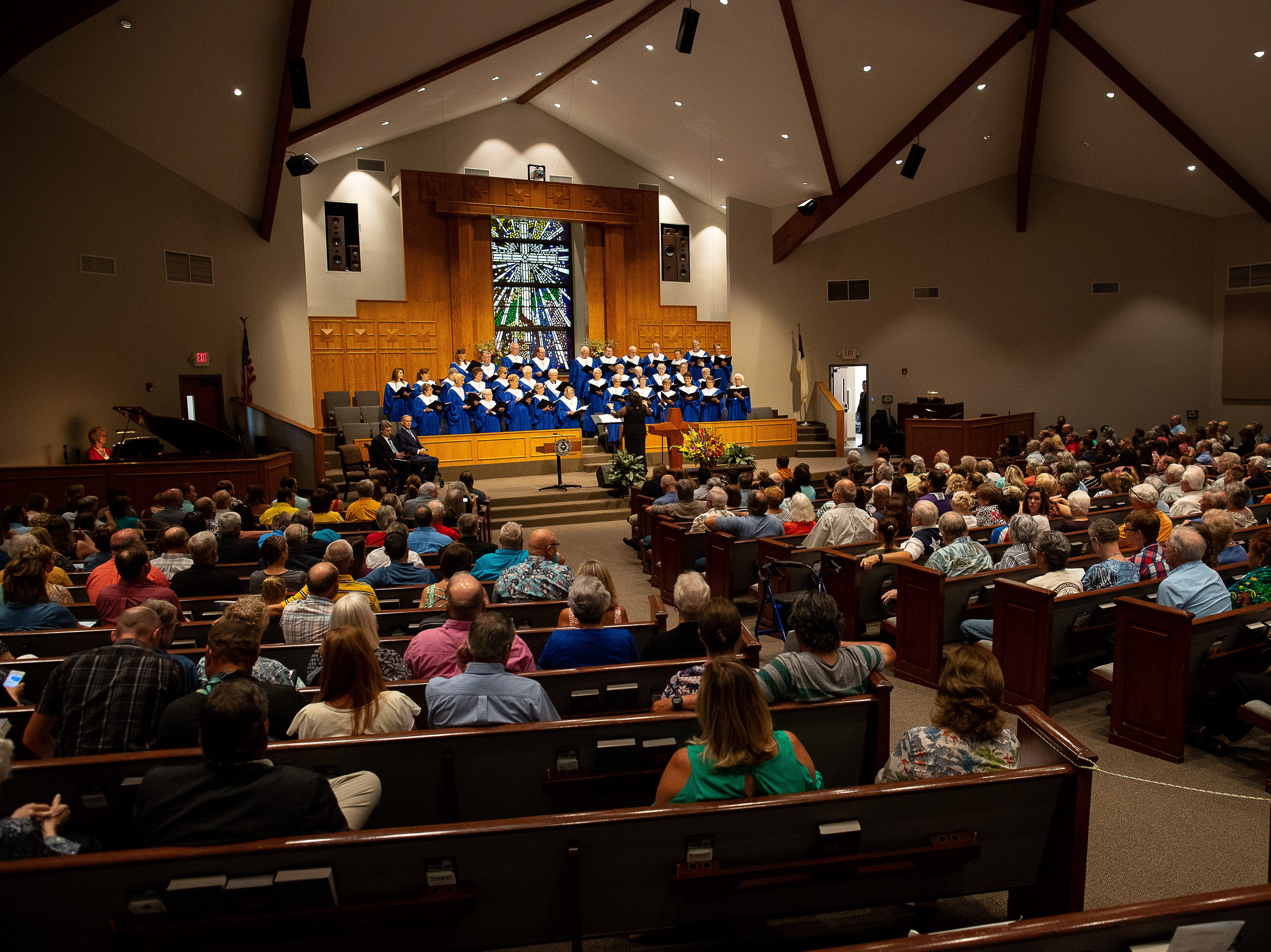 People attend a Hurricane Harvey anniversary service at First Baptist Church of Rockport on Sunday, Aug. 26, 2018.