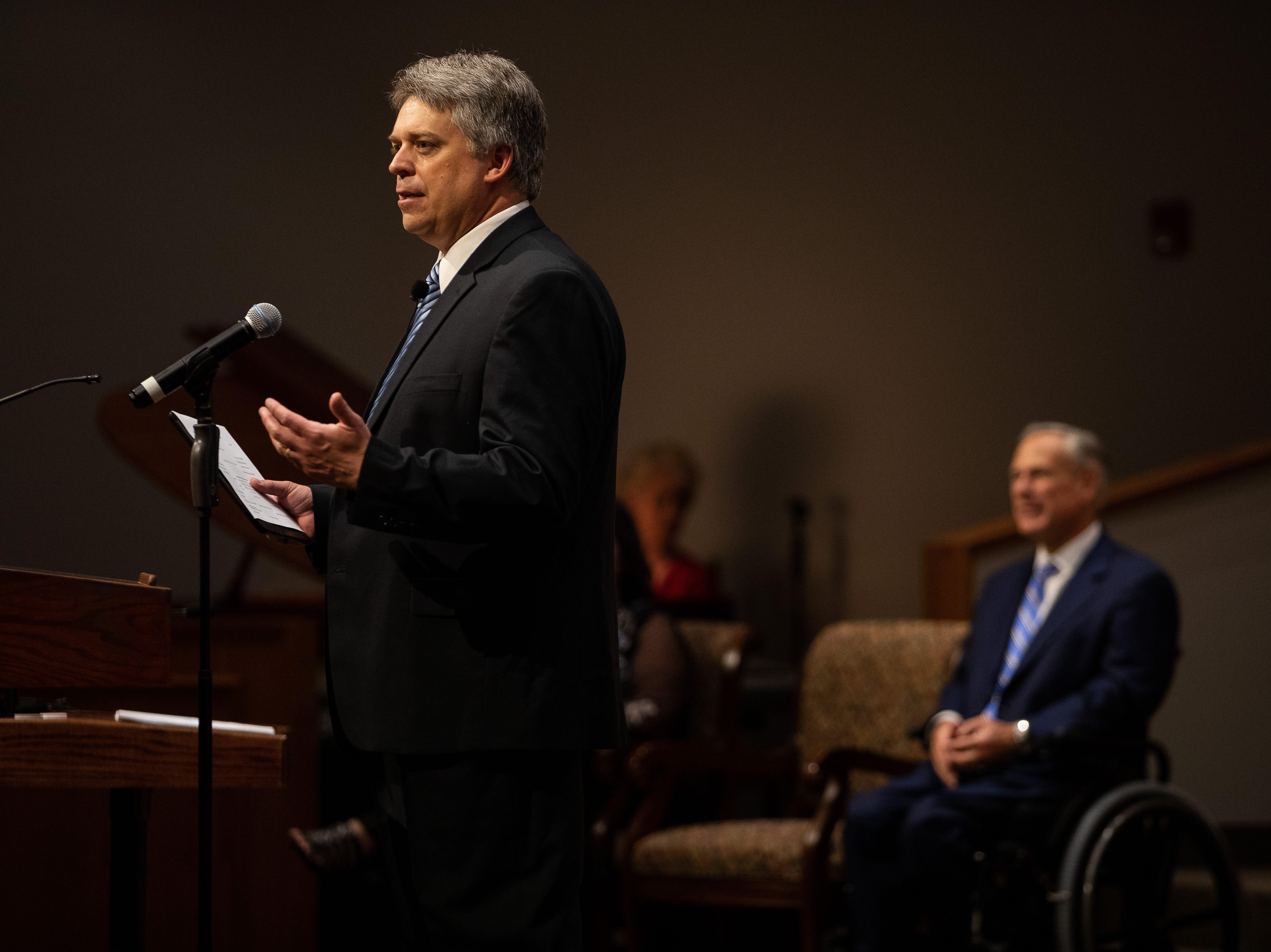 Senior Pastor Scott Jones speaks at the First Baptist Church of Rockport during its Hurricane Harvey anniversary service attended by Gov. Greg Abbott on Sunday, Aug. 26, 2018.