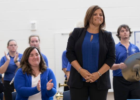 Former Allen Elementary principal Joanna Strawser is introduced to the public as the first principal of Chillicothe Primary School.