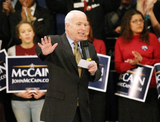 Sen John McCain  inside Memorial Hall in Over-the-Rine on February 26, 2008.
