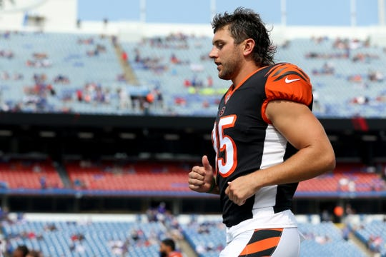 Cincinnati Bengals tight end Tyler Eifert (85) warms up before the Week 3 NFL preseason game between the Cincinnati Bengals and the Buffalo Bills, Sunday, Aug. 26, 2018, at New Era Stadium in Orchard Park, New York.