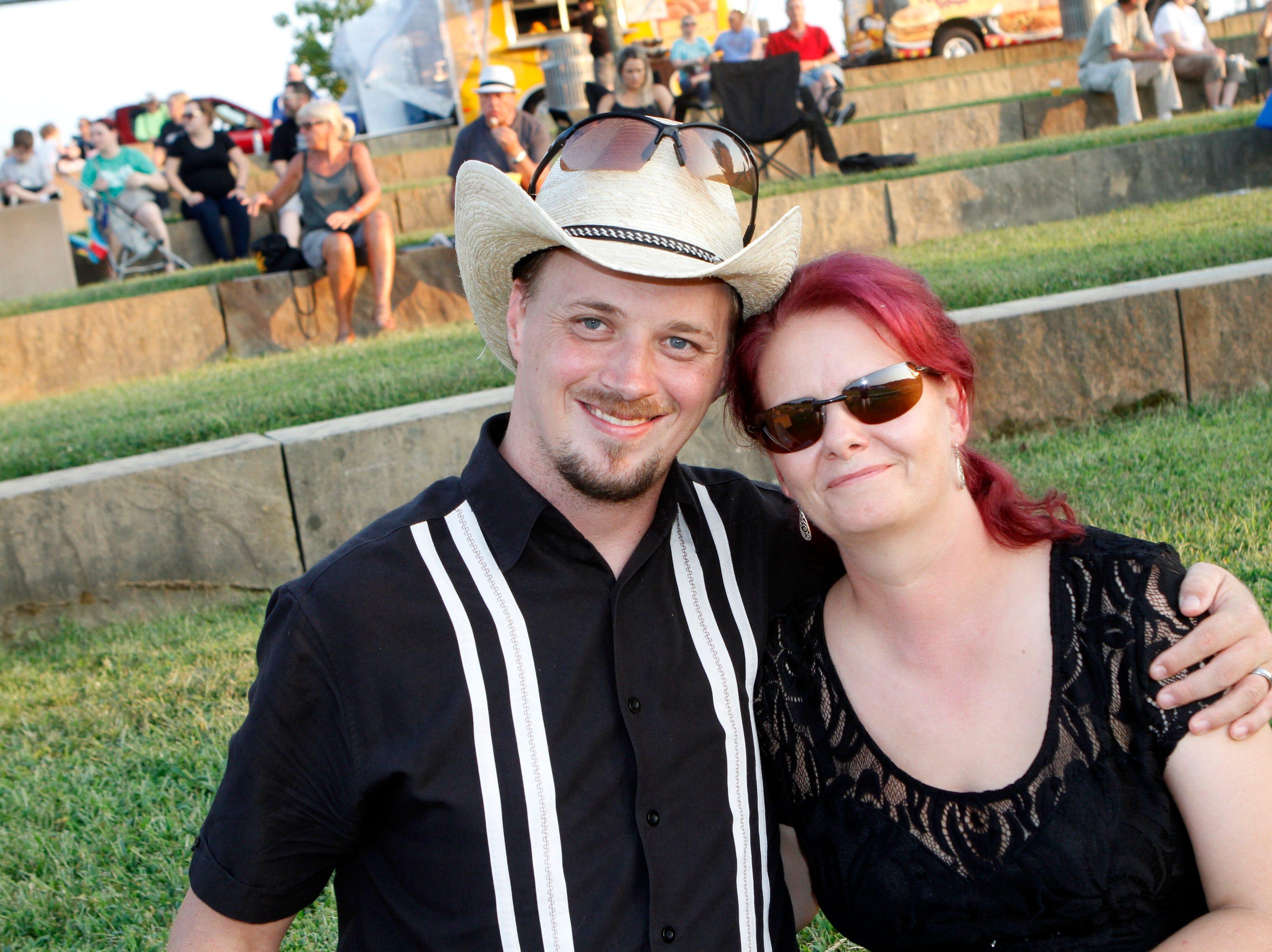 Jonathan Hyatt and Carmen Cavazos at Saturday's Road to Riverfest, a Liberty Park summer concert series event.