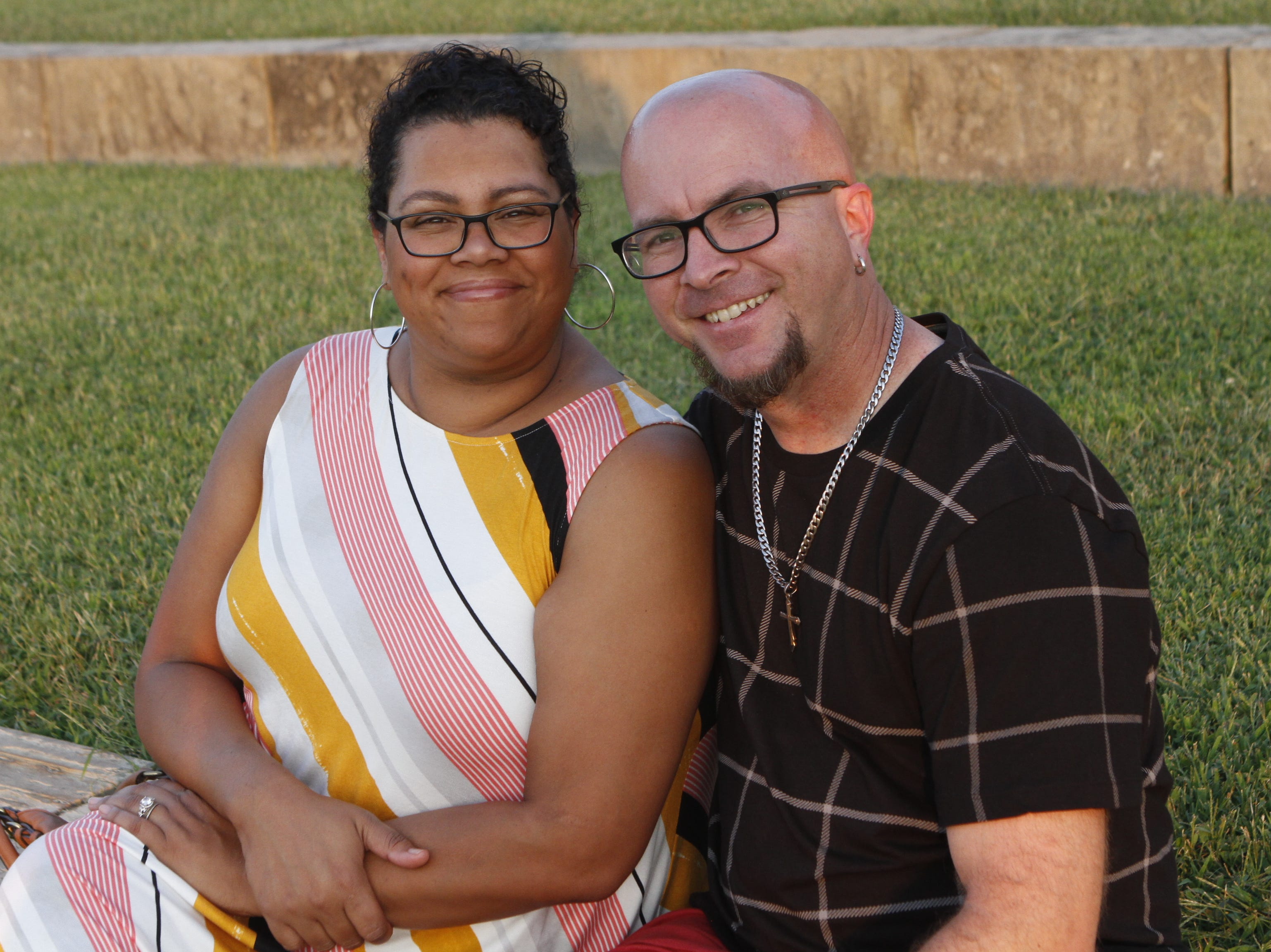 Pam and Jason Mulkey at Saturday's Road to Riverfest, a Liberty Park summer concert series event.
