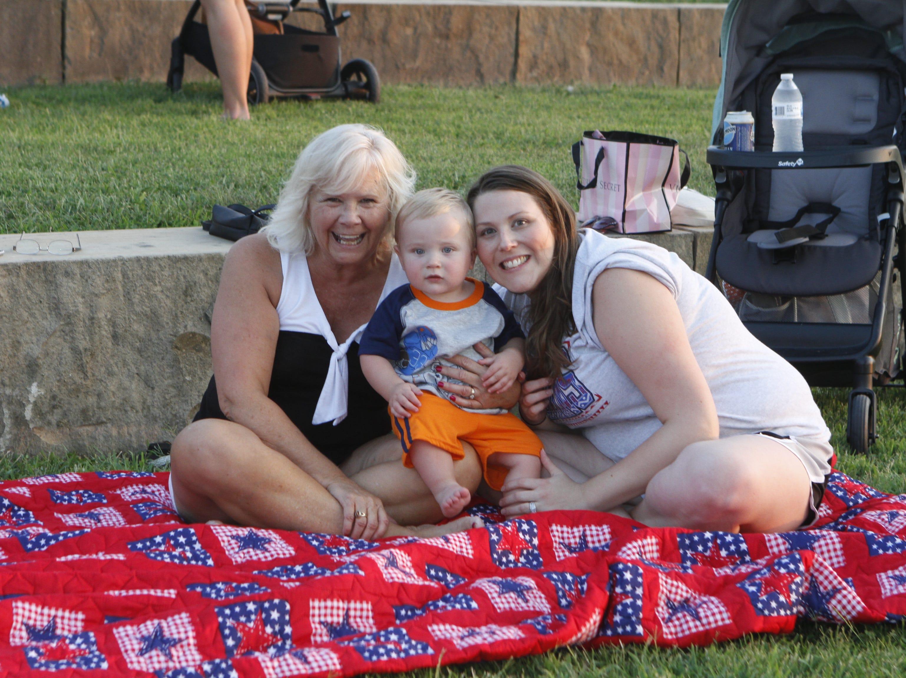 Nancy Poff Cooper and Kristen Dalton at Saturday's Road to Riverfest, a Liberty Park summer concert series event.