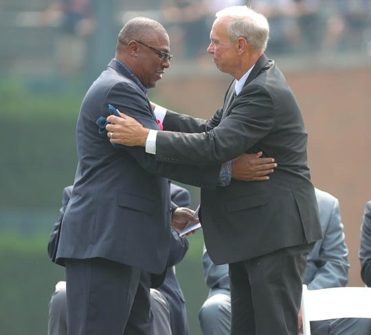 Lou Whitaker embraces teammate Tigers Hall of Fame shortstop Alan during a ceremony held to retire No. 3 before action against the Chicago White Sox on Sunday, August 26, 2018, at Comerica Park.