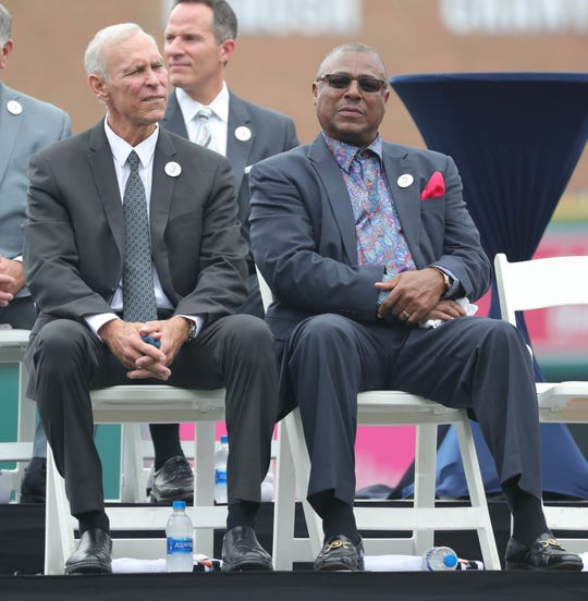 Tigers Hall of Fame shortstop Alan Trammell sits with Lou Whitaker during a ceremony held to retire No. 3 before action against the Chicago White Sox on Sunday, August 26, 2018, at Comerica Park.