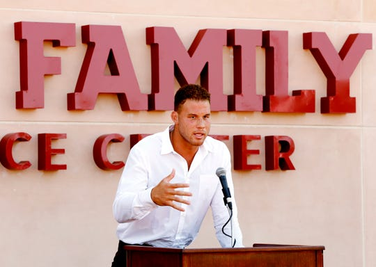Blake Griffin speaks as the new Griffin Family Performance Center is dedicated at the University of Oklahoma on Saturday, Aug. 25, 2018 in Norman, Okla.