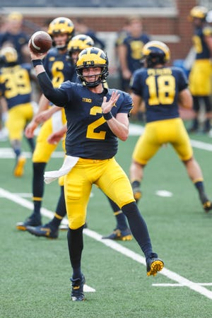 Michigan quarterback Shea Patterson during an open practice at Michigan Stadium on Aug. 26.