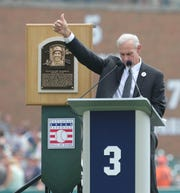Tigers Hall of Fame shortstop Alan Trammell speaks to fans during a ceremony held to retire No. 3 before action against the Chicago White Sox on Sunday, August 26, 2018, at Comerica Park.