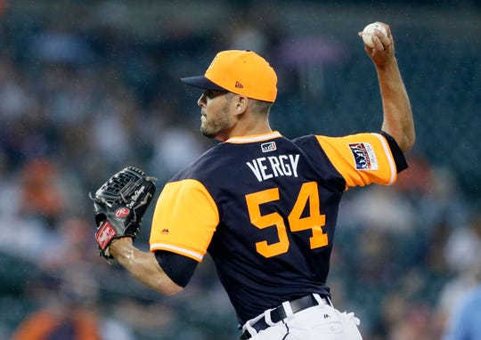 Detroit Tigers' Drew VerHagen pitches against the Chicago White Sox during the fifth inning at Comerica Park on Aug. 25, 2018 in Detroit.