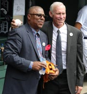 Lou Whitaker and Tigers Hall of Fame shortstop Alan Trammell in the dugout before the game against the Chicago White Sox on Sunday, August 26, 2018, at Comerica Park.